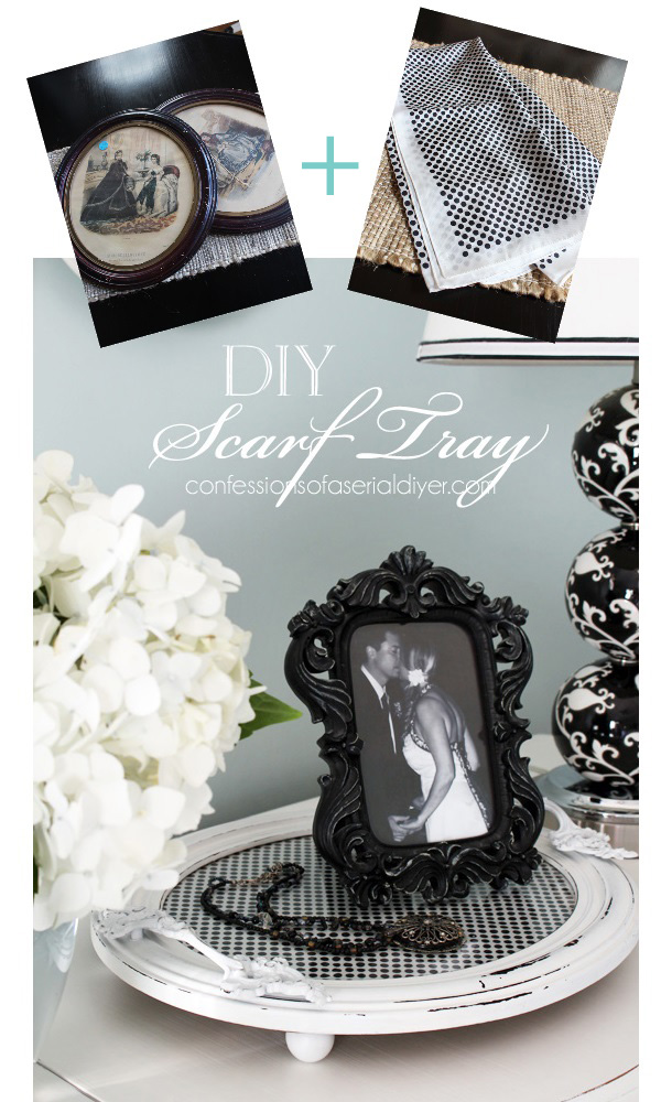 Repurpose a favorite scarf by puttingit under tha glass in a picture frame turned tray!