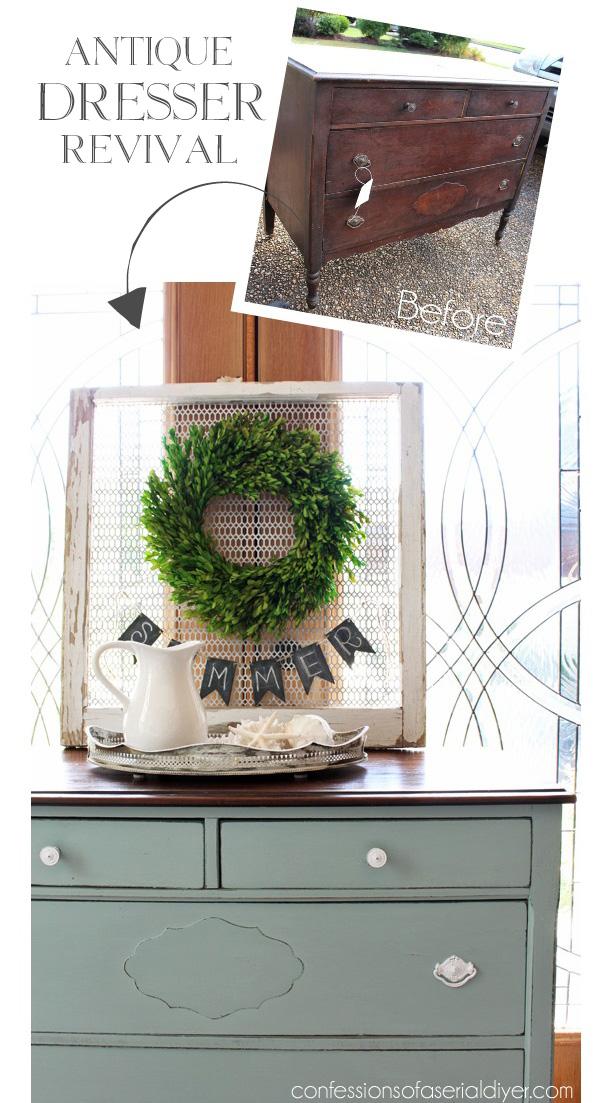 Antique Dresser Revival from confessionsofaserialdiyer.com