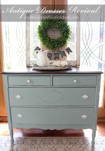 Antique Dresser Revived with Behr's Gray Morning made into chalk paint.