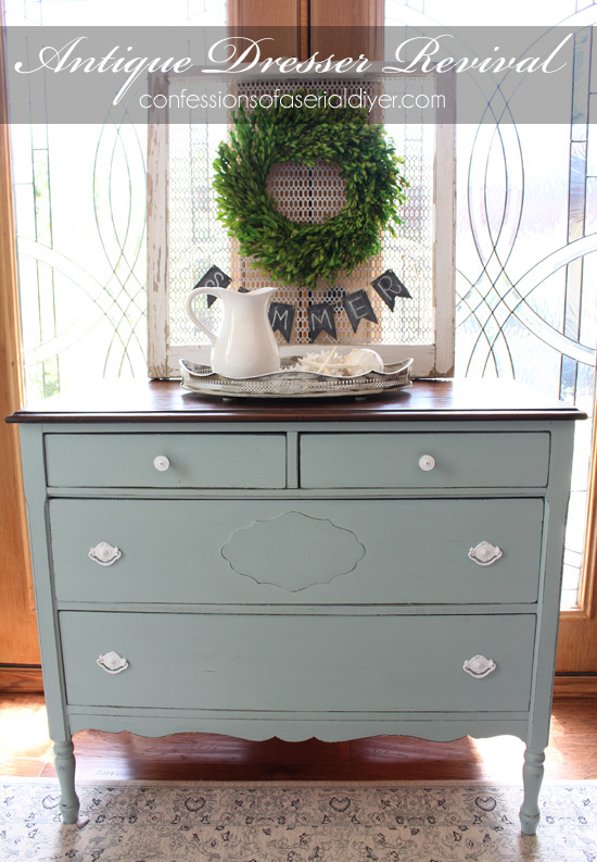 Antique Dresser Revived With Behr S Gray Morning Made Into Chalk Paint