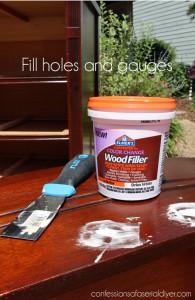 Elmer's Wood Filler works great for filling holes, gauges, or deep scratches.