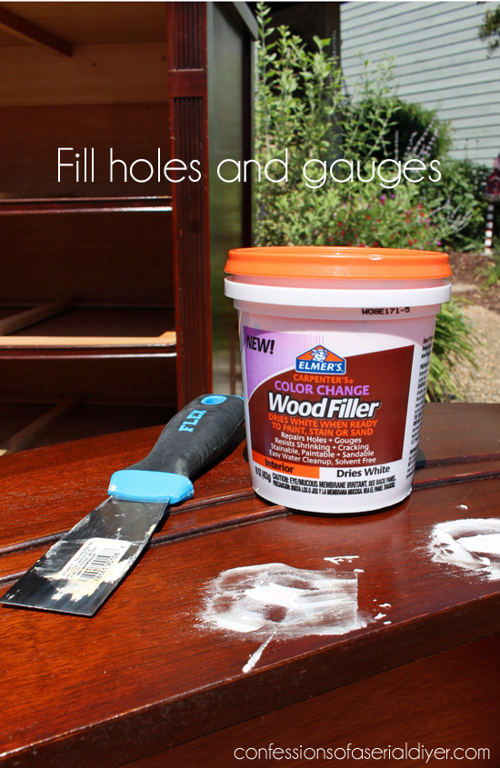 Elmer's Wood Filler works great for filling holes, gauges, or deep scratches.