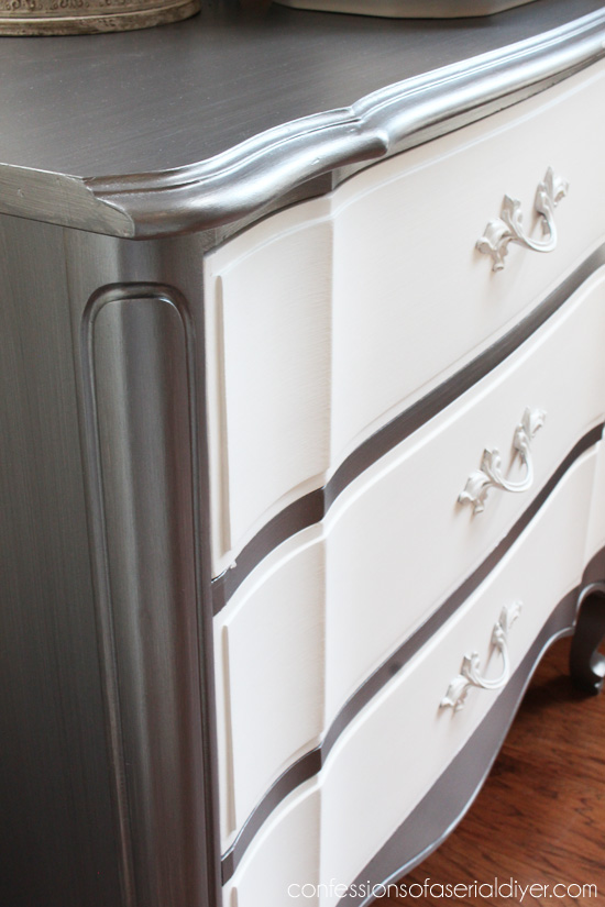 French Provincial Three-Drawer Chest Makeover in Martha Stewart's Thundercloud