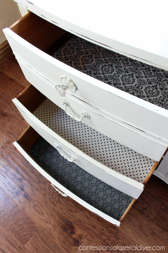 Line the drawers in different coordinating paper for an unexpected fun touch.