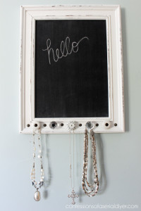 It's a chalkboard and a place to hang your favorite necklaces, made from a thrift store frame. Confessions of a Serial Do-it-Yourselfer