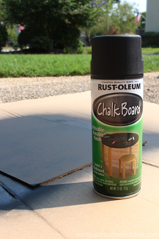 Rustoleum's chalkboard spray paint is perfect for making chalkboards.