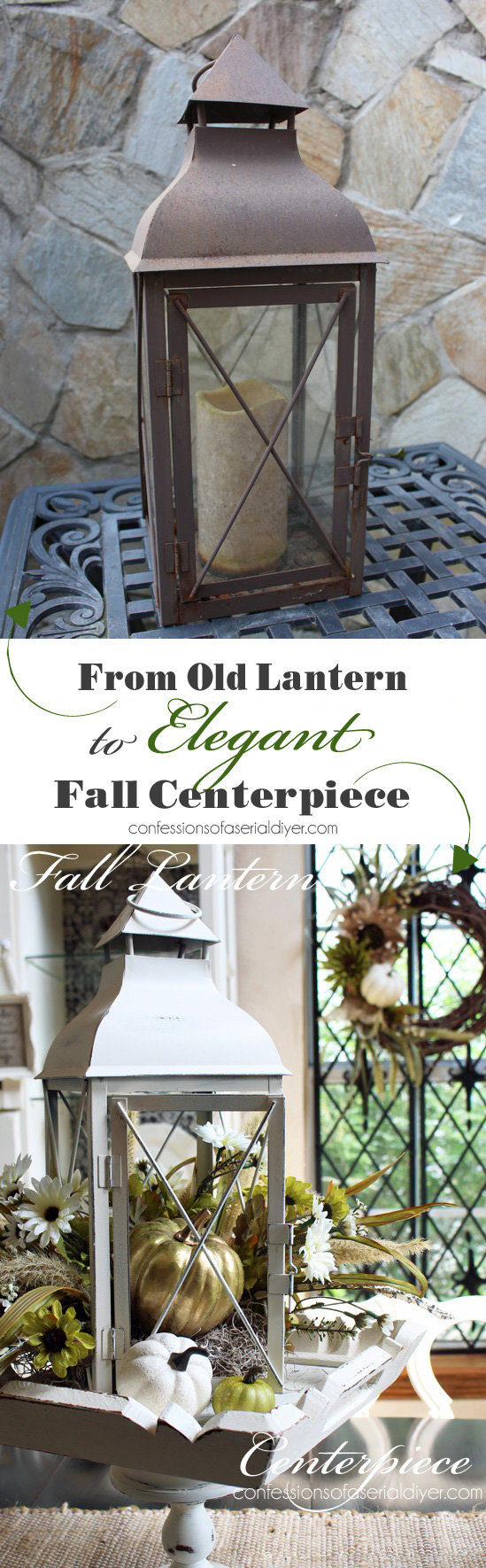 Turn a lantern into an elegant centerpiece for Fall from confessionsofaserialdiyer.com