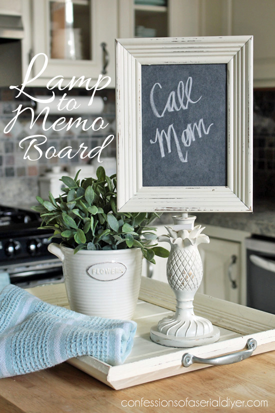 Lamp turned memo chalkboard memo board!