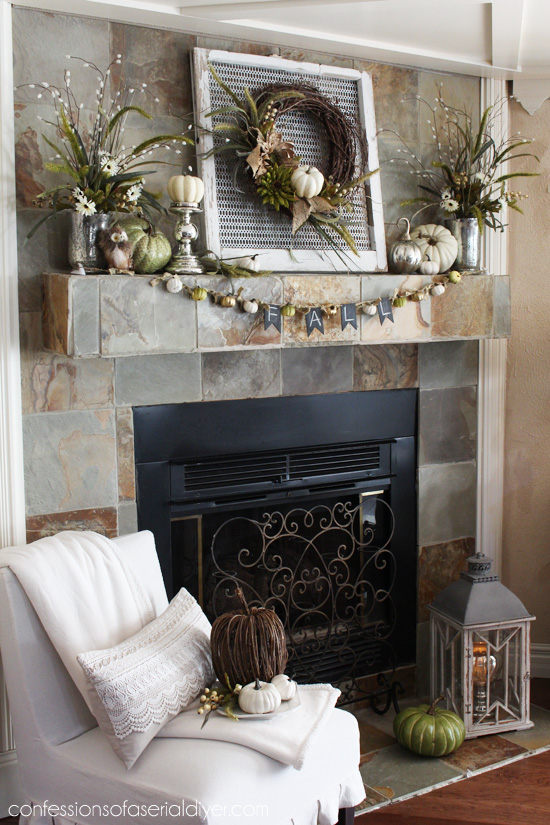 I'm loving a neutral Fall pallette again this year. My mantel /Confessions of a Serial Do-it-Yourselfer