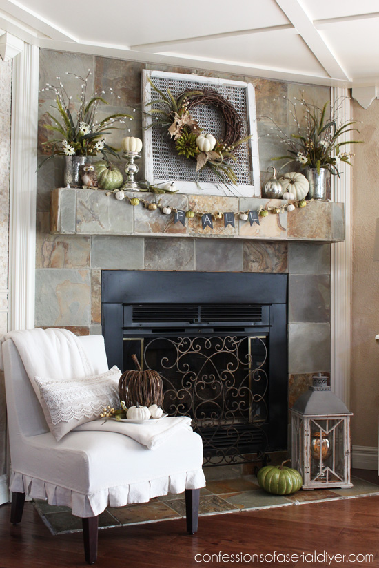 Fall Mantel decorated using a Neutral Palette confessionsofaserialdiyer.com