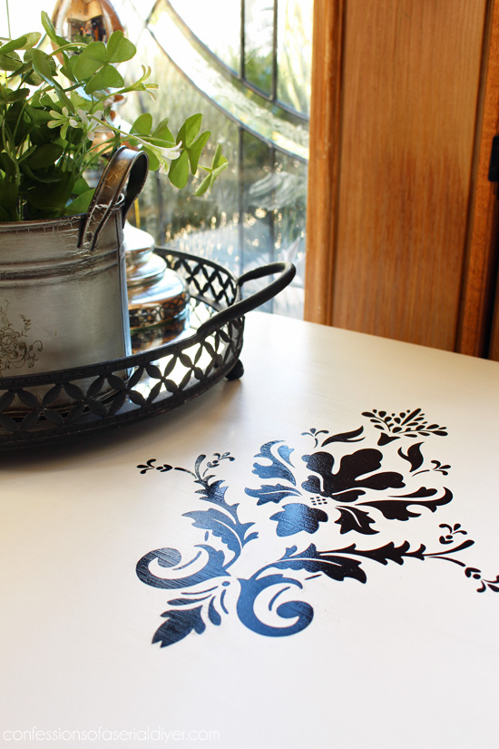 Damask stencil created with my silhouette cameo