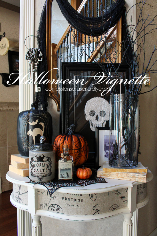 gorgeous mirror makeover entry table vignette a d cor challenge confessions of a serial do. Black Bedroom Furniture Sets. Home Design Ideas
