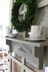 Shelf redone in French Linen.