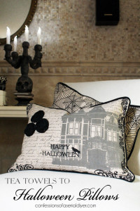 Turn Halloween inspired tea towels into fun accent pillows!