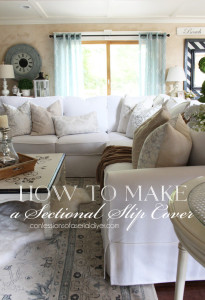 This post shares step-by-step how to make a sectional slipcover. Confessions of a Serial Do-it-Yourselfer