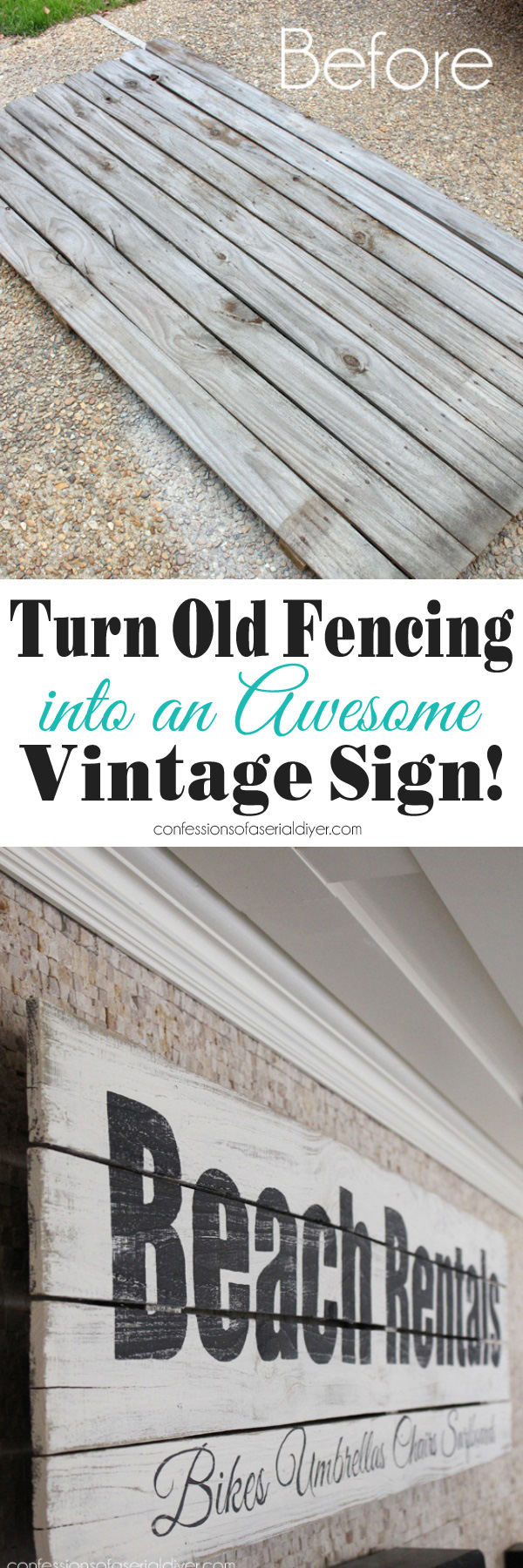 Turn an old fence into a vintage sign confessions of a serial do dont take that old fenicng to the dump make a cool vintage sign baanklon Image collections