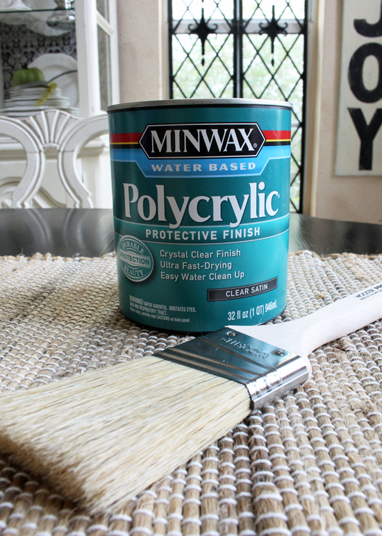 Minwax Polycrylic gives a long lasting durable finish.