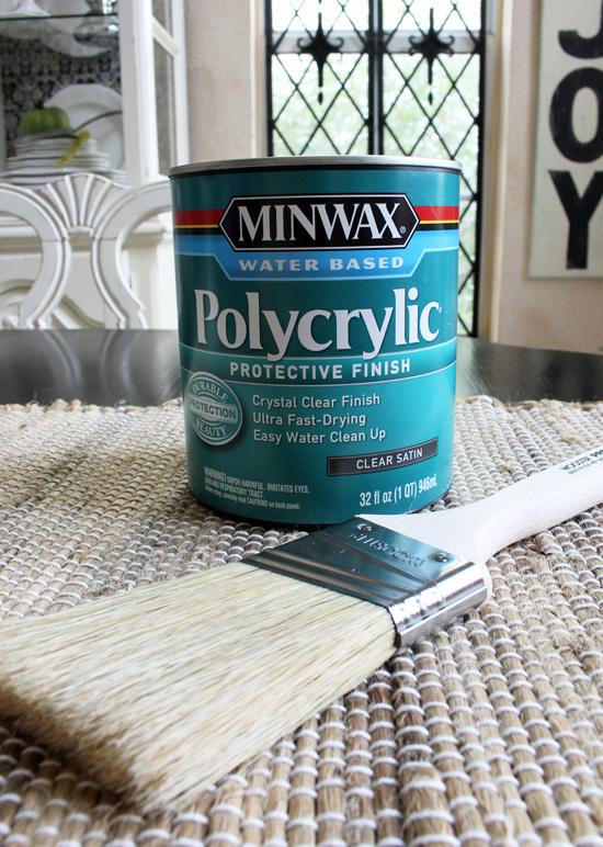 Minwax Polycrylic gives a long lasting durable finish.