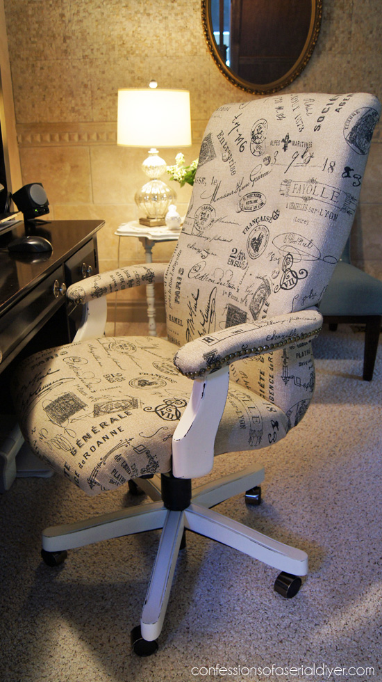Update an old desk chair with fabric!
