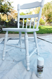 Rustoleum spray paint was perfect for these chairs.