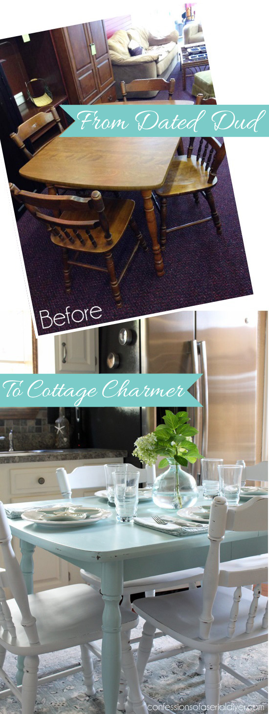 From Dated Dud to Cottage Charmer: How to Paint a Laminate Kitchen Table/Confessions of a Serial Do-it-Yourselfer