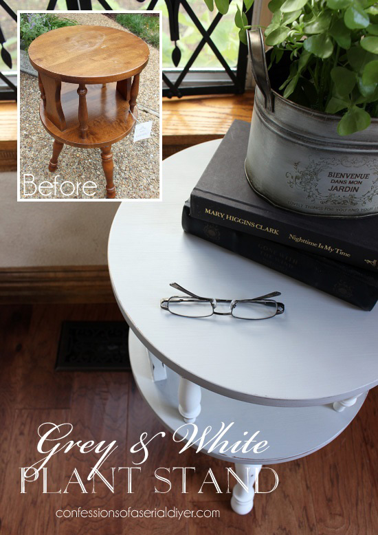 Thrift store find updated with Paris grey and white paint form Confessions of a Serial Do-it-Yourselfer