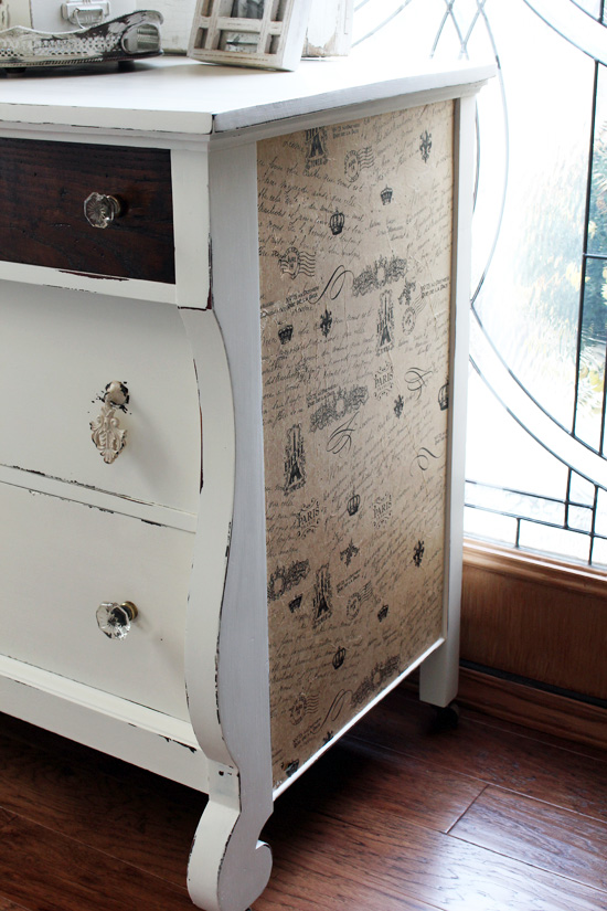 Add tissue paper to the side of a dresser for added interest!