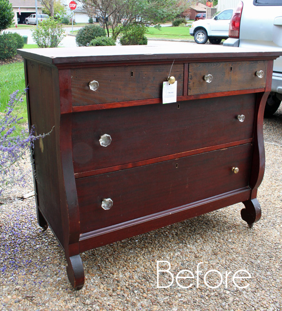 Two Toned Empire Dresser Before