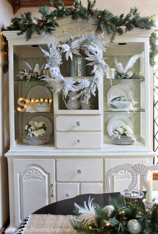 Wintry Elegant Christmas Hutch from Confessions of a Serial Do-it-Yourselfer and At Home