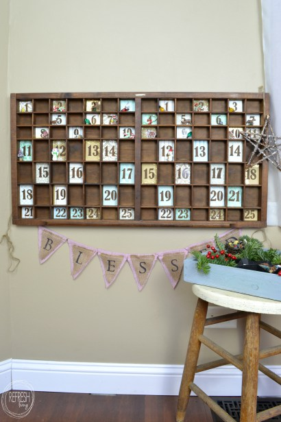 Christmas Advent Calendar from a Vintage Printer's Tray from Refresh Living