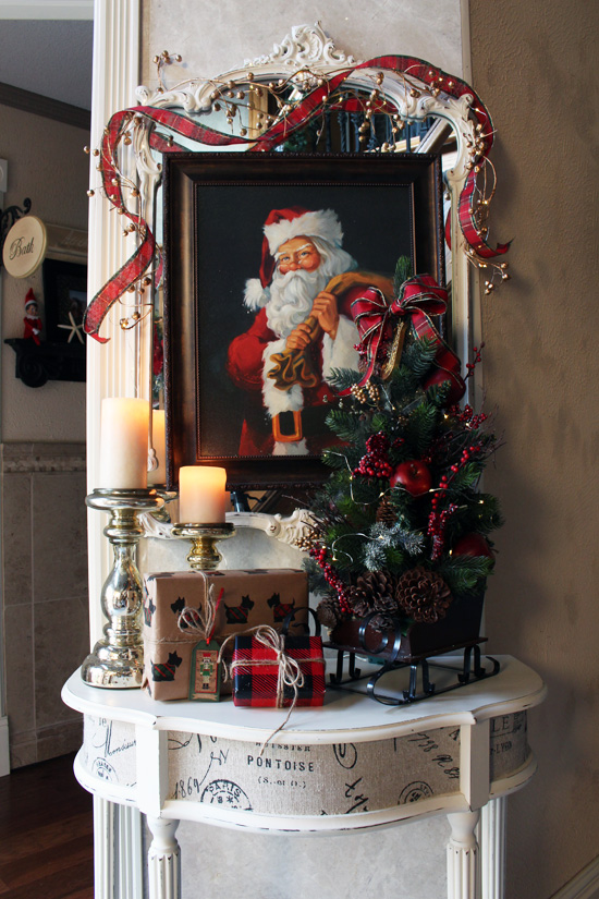Entry Table decked out for Christmas from Confessions of a Serial Do-it-Yourselfer
