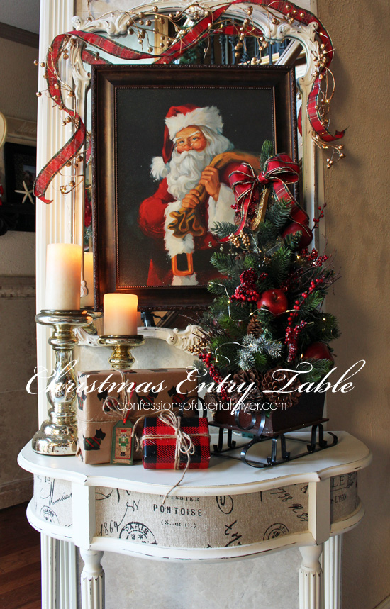 christmas entry table a d cor challenge. Black Bedroom Furniture Sets. Home Design Ideas