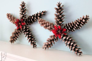 Christmas Star Decorations Using Pine Cones from Viral Upcycle