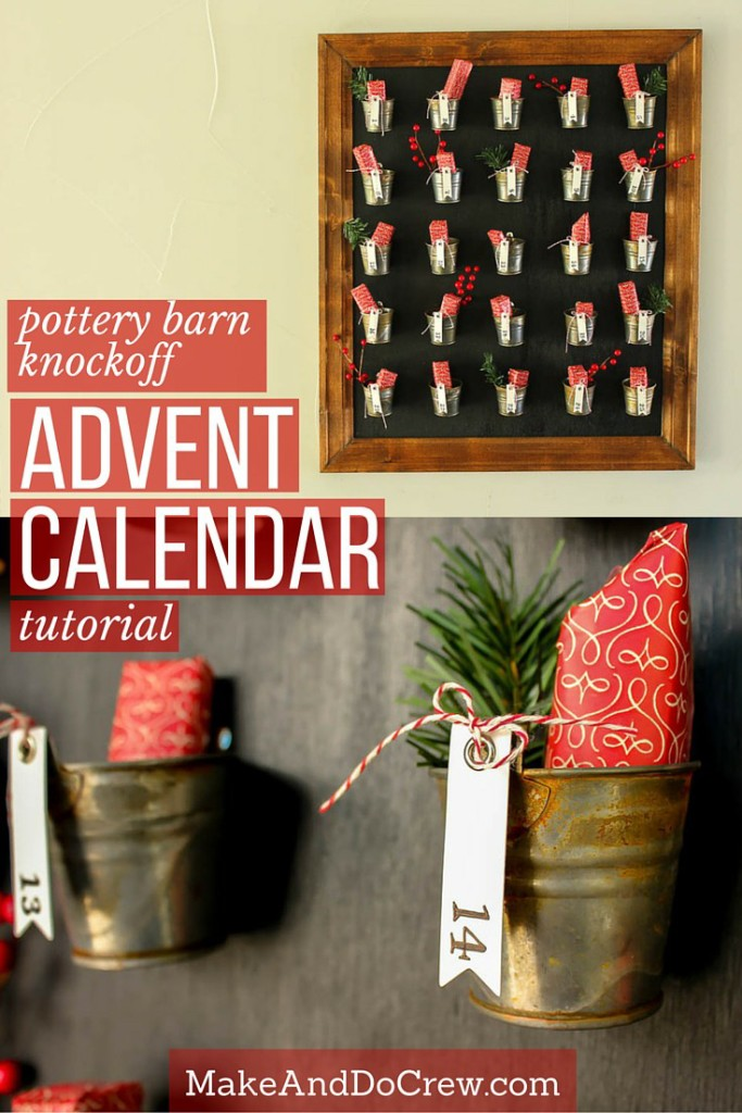 Pottery Barn Knockoff DIY Advent Calendar on the wall.
