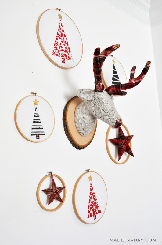 Embroidery Hoop Trees circling a deer head made out of fabric.