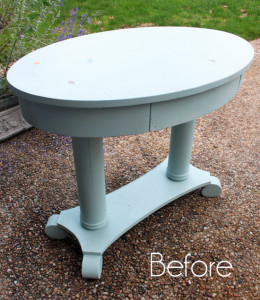 Oval Library Table Makeover