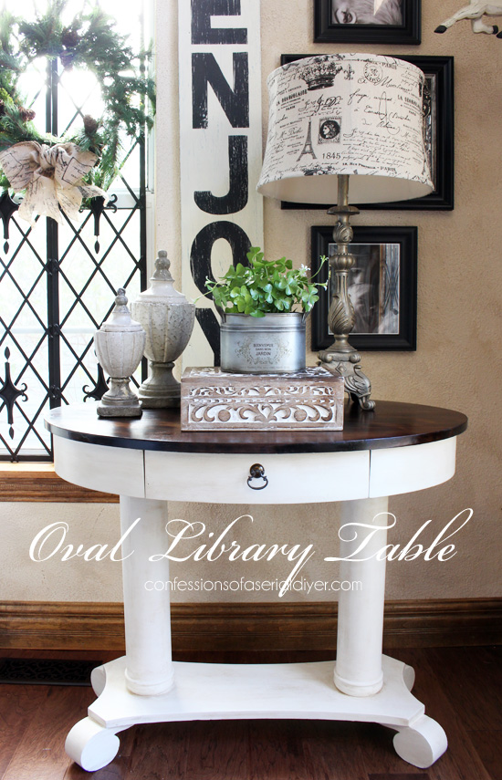 Oval library table redone using Citristrip by Confessions of a Serial Do-it-Yourselfer