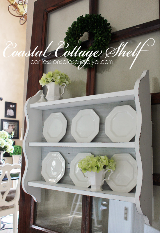 Coastal Cottage Shelf updated with old fence pickets from Confessions of a Serial Do-it-Yourselfer
