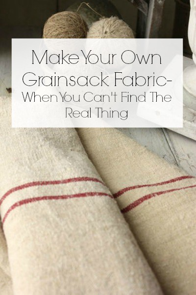 Make Your Own Grainsack Fabric with the fabric on the floor.