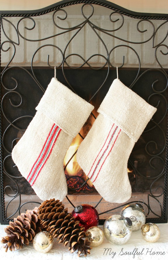 Grain Sack Striped Stockings from My Soulful Home