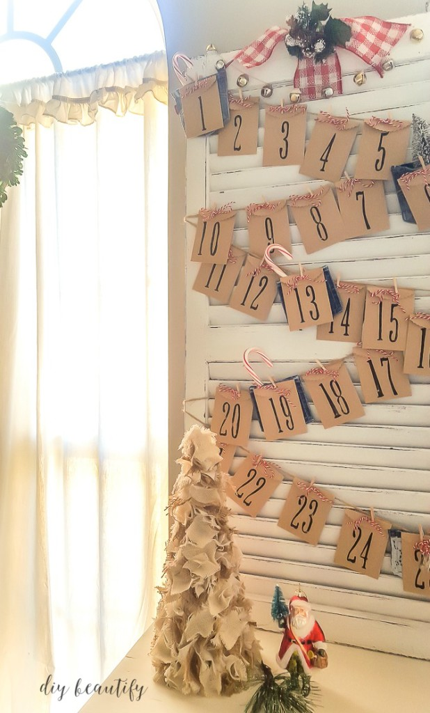 Christmas Countdown Advent from an old Shutter from DIY Beautify