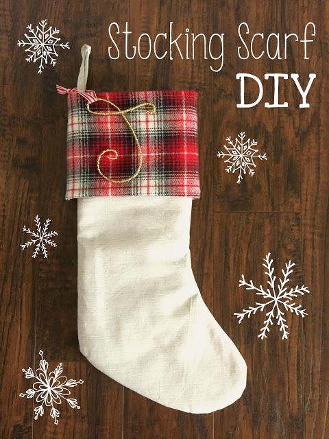 Plaid Stocking Scarf with white snowflakes beside it.