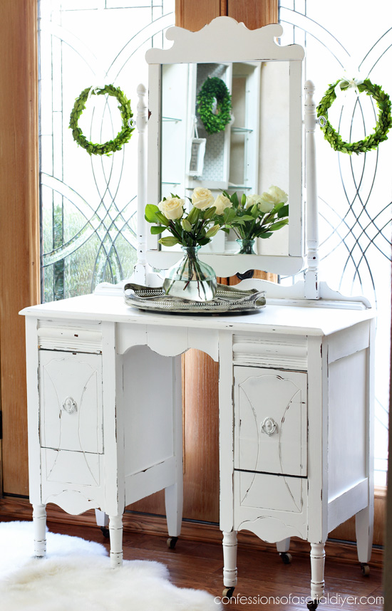 Antique Dressing Table Makeover in Pure White DIY Chalk Paint from  Confessions of a Serial Do - Antique Dressing Table Makeover