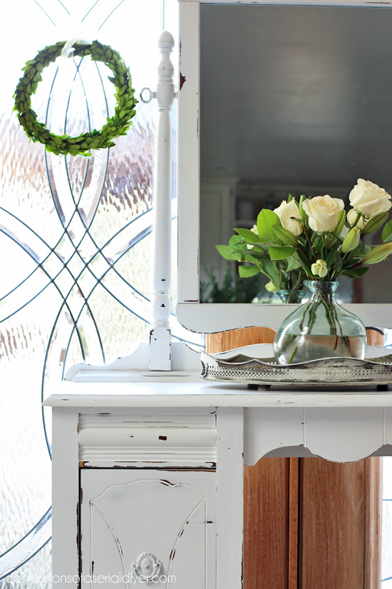 Antique Dressing Table Makeover in Pure White DIY Chalk Paint from Confessions of a Serial Do-it-Yourselfer