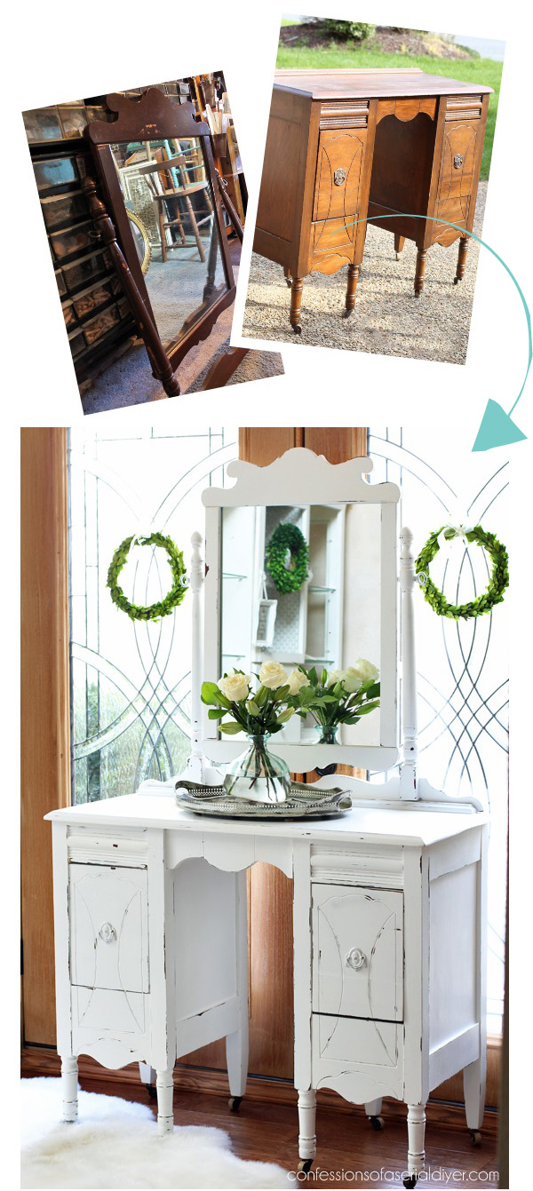 Antique Dressing Table Makeover using DIY Chalk Paint from confessionsofaserialdiyer.com