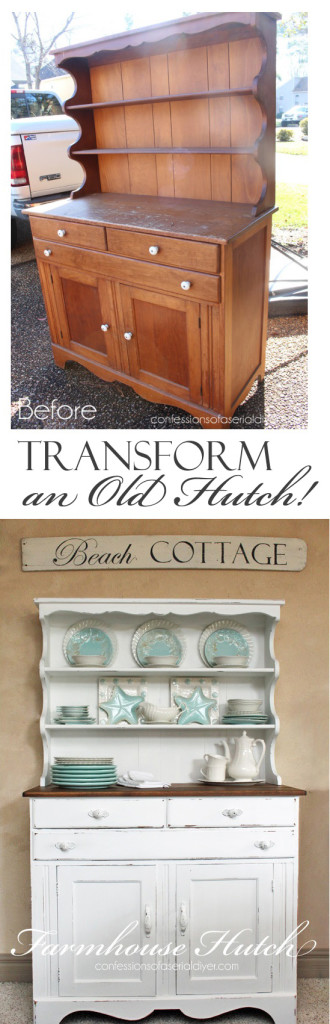 Farmhouse Hutch Makeover from Confessions of a Serial Do-it-Yourselfer