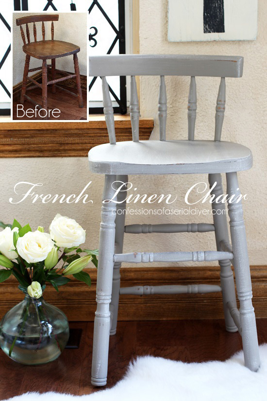 Chair/Stool, calling this a chool! Painted in French Linen by Annie Sloan. Confessions of a Serial Do-it-Yourselfer