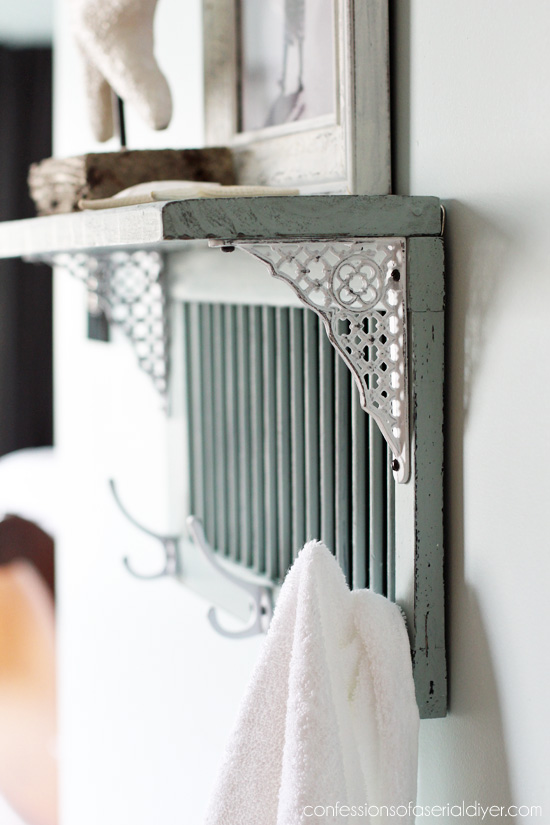 Cute and functional shelf made byrepurposing a small shutter from Confessions of a Serial Do-it-Yourselfer