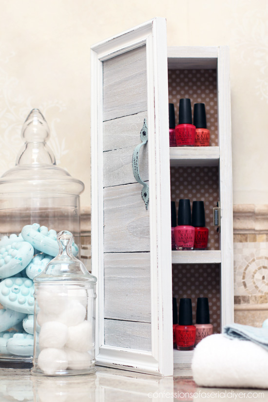 DIY Mini Storage Cabinet with Reclaimed Wood from Confessions of a Serial Do-it-Yourselfer