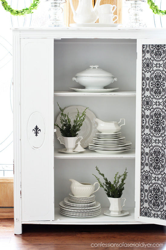 Antique Cabinet makeover in Pure White DIY Chalk Paint from Confessions of a Serial Do-it-Yourselfer